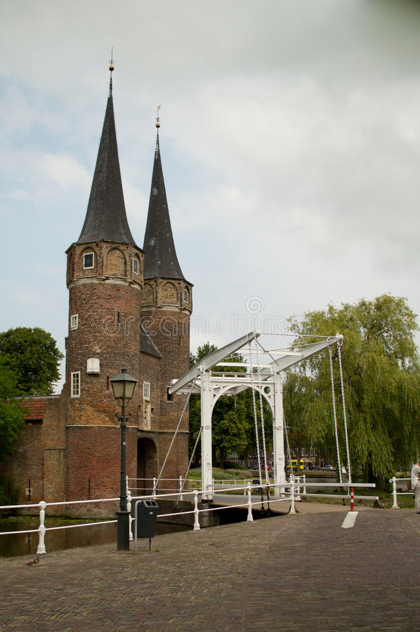 Porta oriental da louça de Delft foto de stock