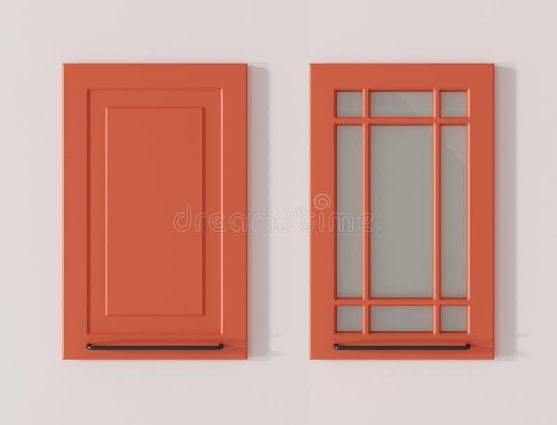 Porta para a rendição 3D cor-de-rosa dos salmões dos armários de cozinha ilustração do vetor