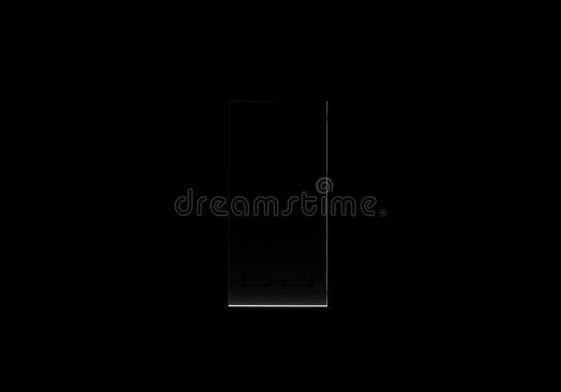 Porta preta de abertura na sala escura com luz de brilho ilustração stock