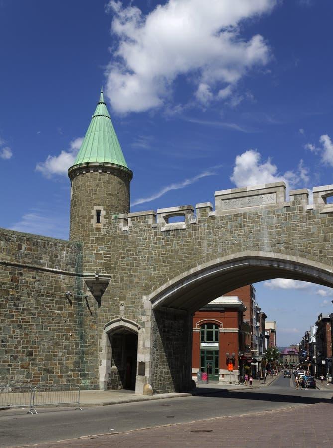 Porta Quebec City de St-Jean foto de stock