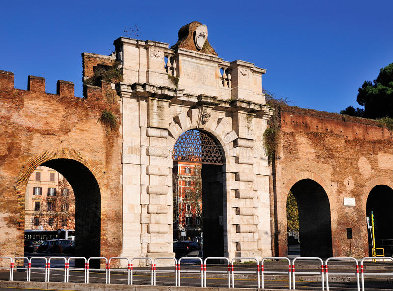 Porta San Giovanni. The Porta San Giovanni is a gate in the Aurelian Wall named after the nearby Basilica di San Giovanni in Laterano (Saint Johhn in Lateran) in stock photos