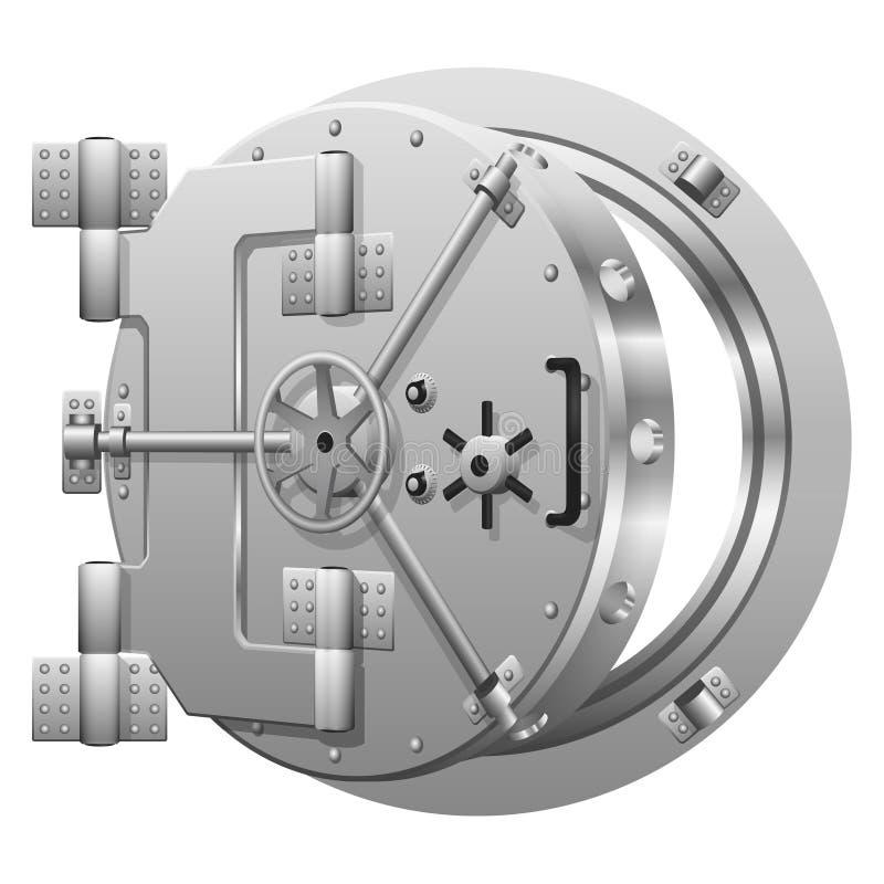 Porta semiaperta della volta di banca su bianco illustrazione vettoriale