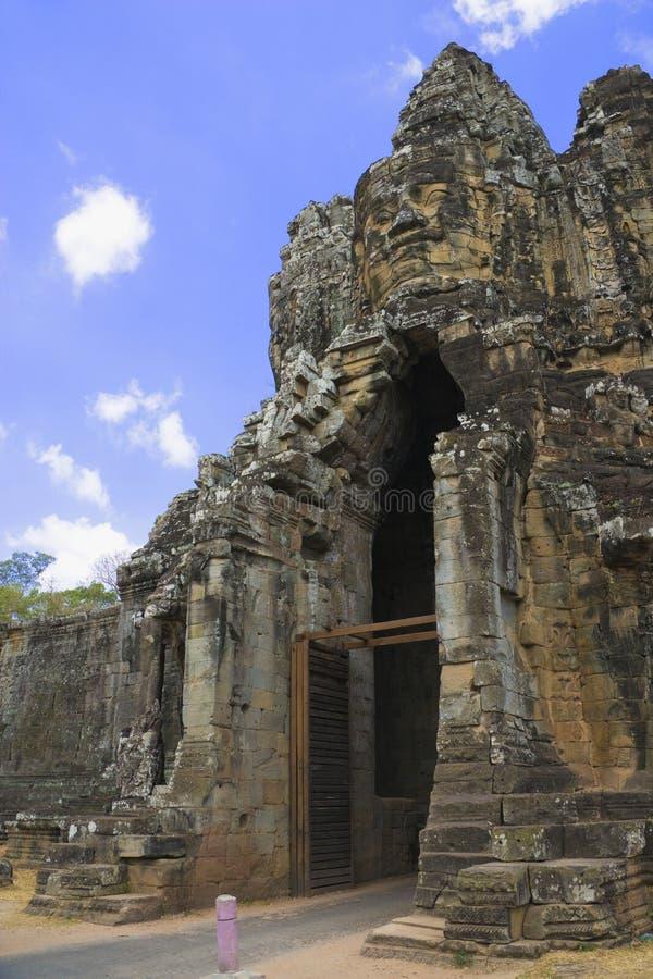 Porta sul, Angkor Thom, Cambodia fotografia de stock