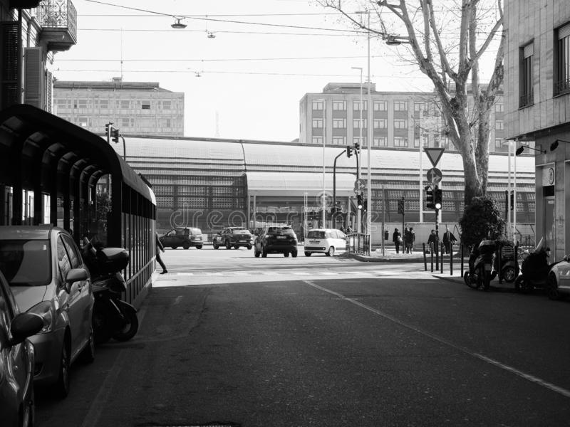 Porta Susa station in Turin in black and white stock photo