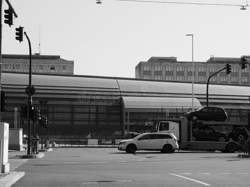 Porta Susa station in Turin in black and white. TURIN, ITALY - CIRCA FEBRUARY 2019: Torino Porta Susa railway station in black and white stock photos