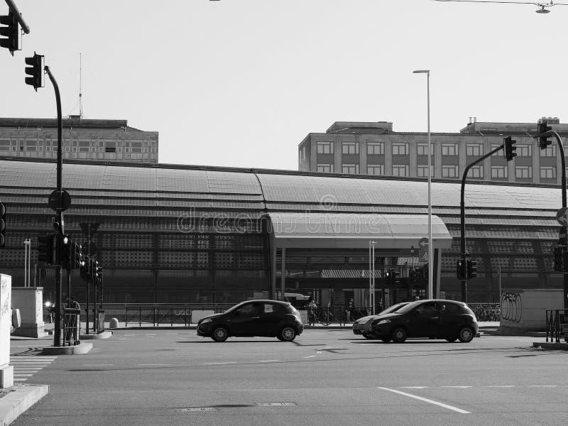 Porta Susa station in Turin in black and white. TURIN, ITALY - CIRCA FEBRUARY 2019: Torino Porta Susa railway station in black and white stock photo