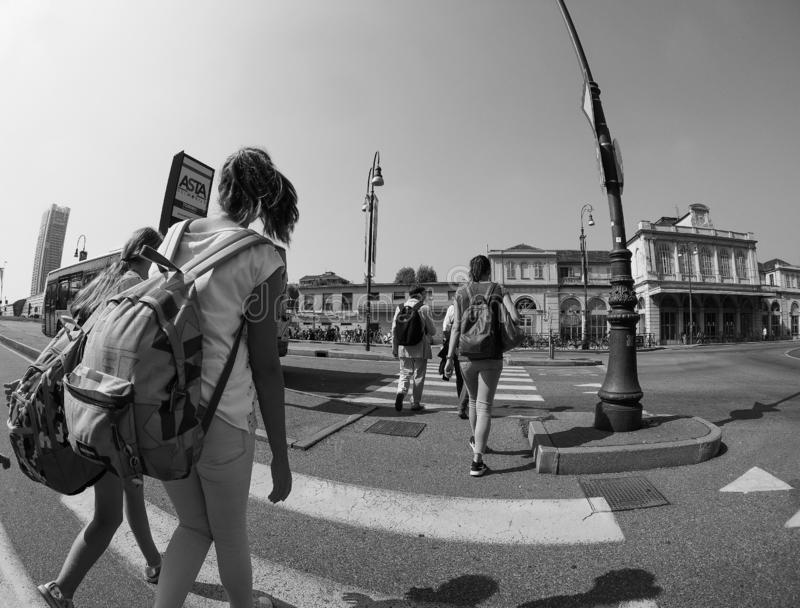 Porta Susa station in Turin in black and white stock photos