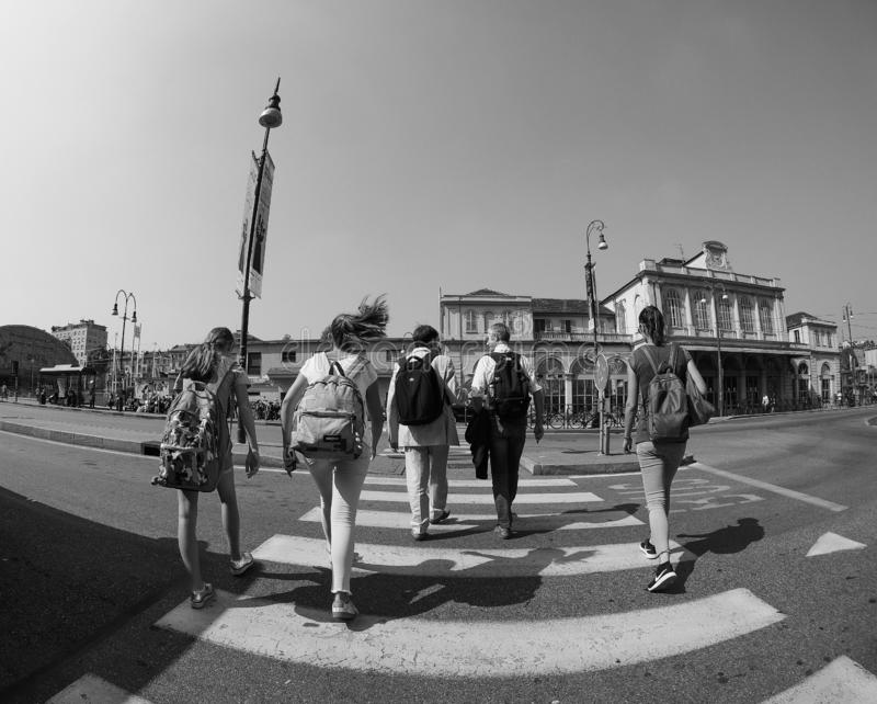 Porta Susa station in Turin in black and white. TURIN, ITALY - CIRCA SEPTEMBER 2018: Torino Porta Susa railway station seen through fisheye lens in black and royalty free stock photo