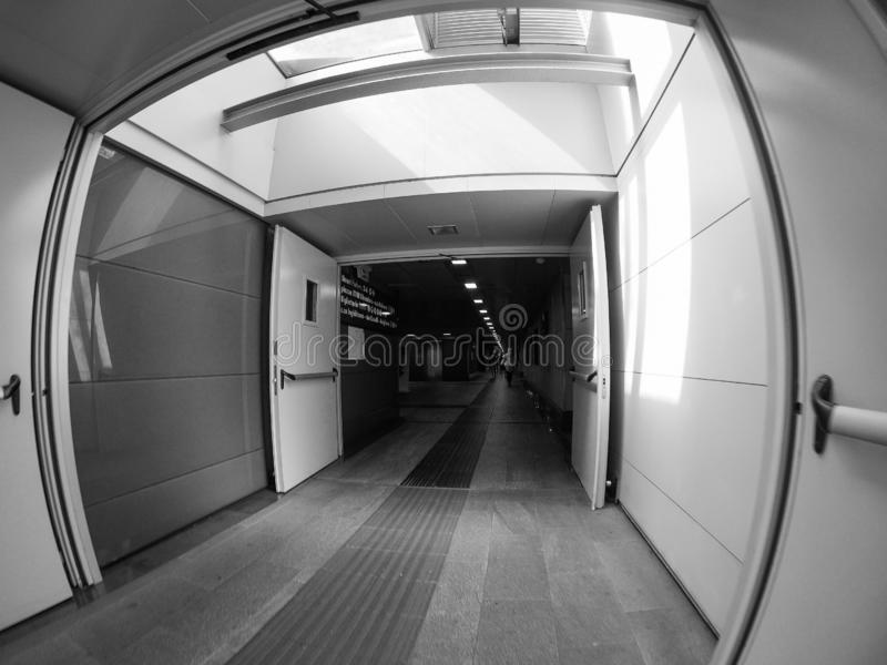 Porta Susa station in Turin in black and white royalty free stock images