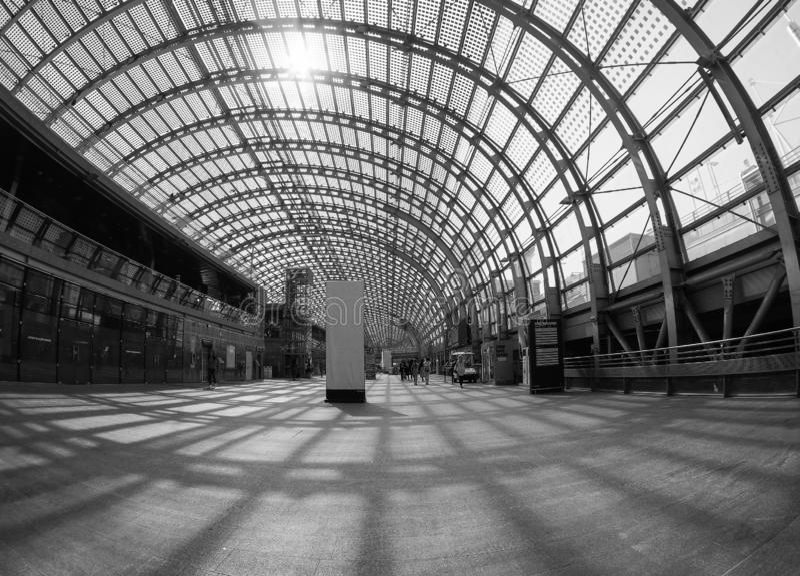 Porta Susa station in Turin. TURIN, ITALY - CIRCA SEPTEMBER 2018: Torino Porta Susa railway station seen through fisheye lens stock images