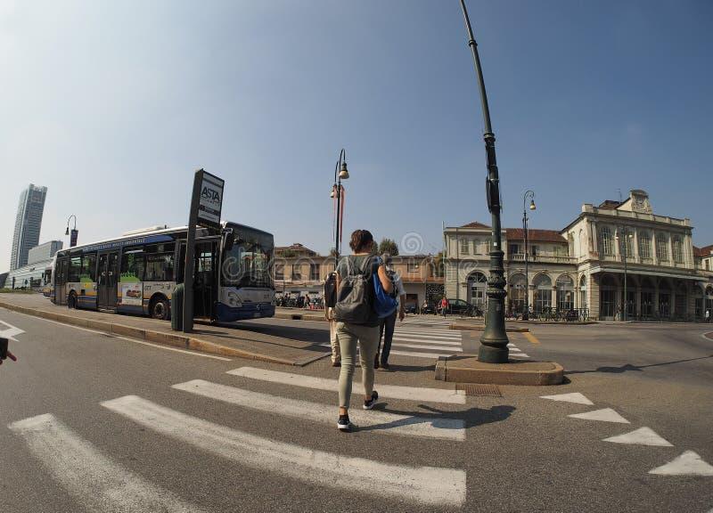 Porta Susa station in Turin. TURIN, ITALY - CIRCA SEPTEMBER 2018: Torino Porta Susa railway station seen through fisheye lens royalty free stock photography