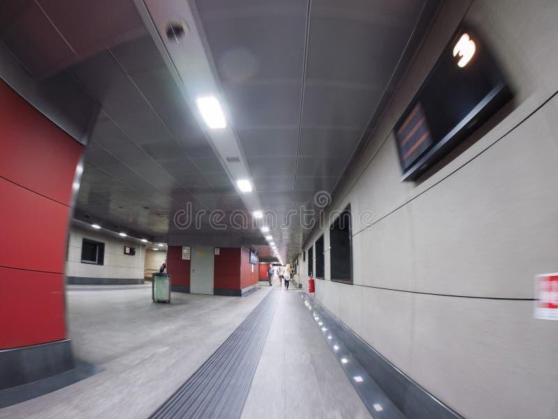 Porta Susa station in Turin. TURIN, ITALY - CIRCA STEMBER 2018: Torino Porta Susa railway station seen through fisheye lens stock photography