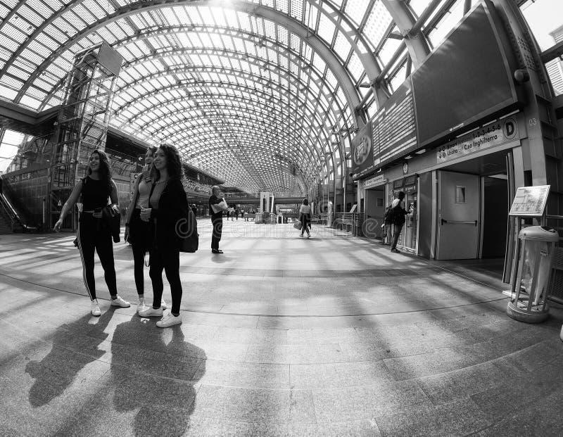Porta Susa station in Turin. TURIN, ITALY - CIRCA STEMBER 2018: Torino Porta Susa railway station seen through fisheye lens stock photo