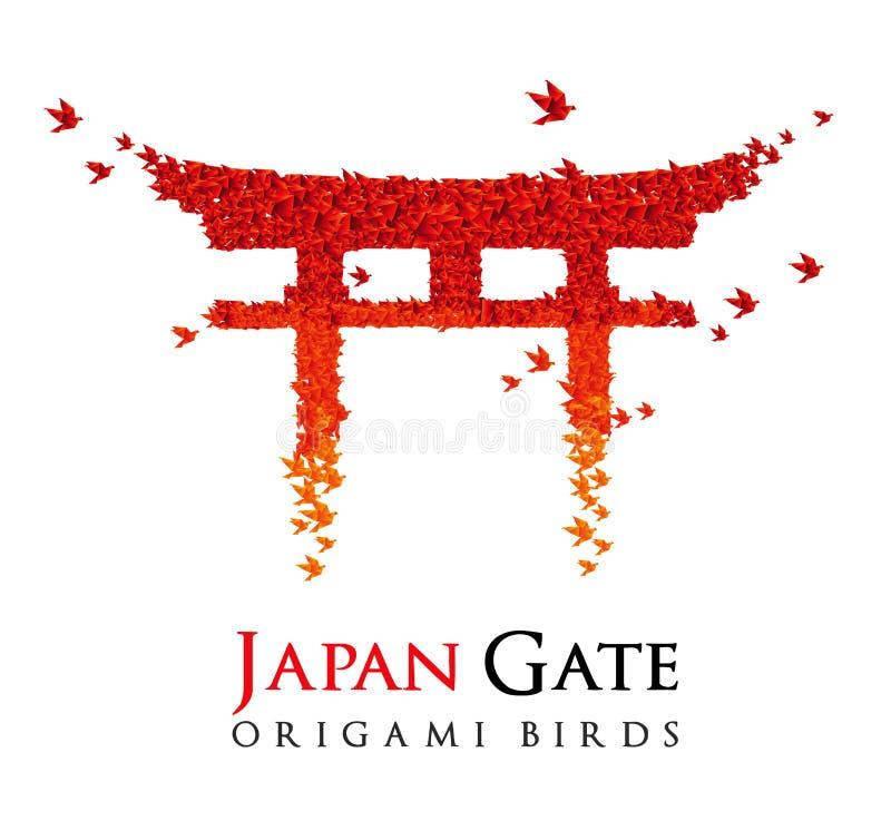 Porta Torii do origami de Japão ilustração royalty free