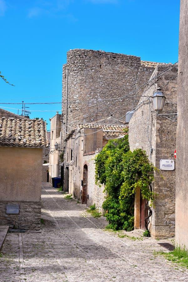 Erice, trapani, sicily, italy. Porta trapani Erice Sicilia Italy royalty free stock image