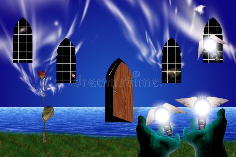 A porta a uns outros mundos ilustração royalty free