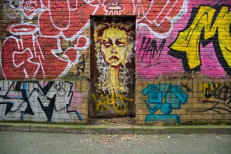 Porta Urban street art East London Regno Unito fotografia stock
