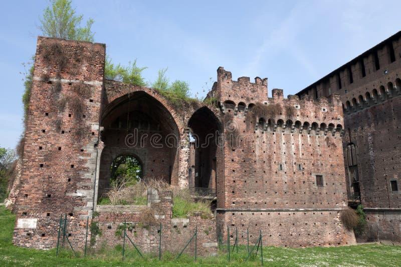 Porta Vercellina a Castello Sforzesco a Milano fotografia stock libera da diritti