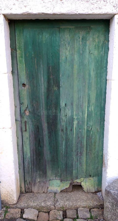 Porta verde de madeira de madeira velha imagem de stock
