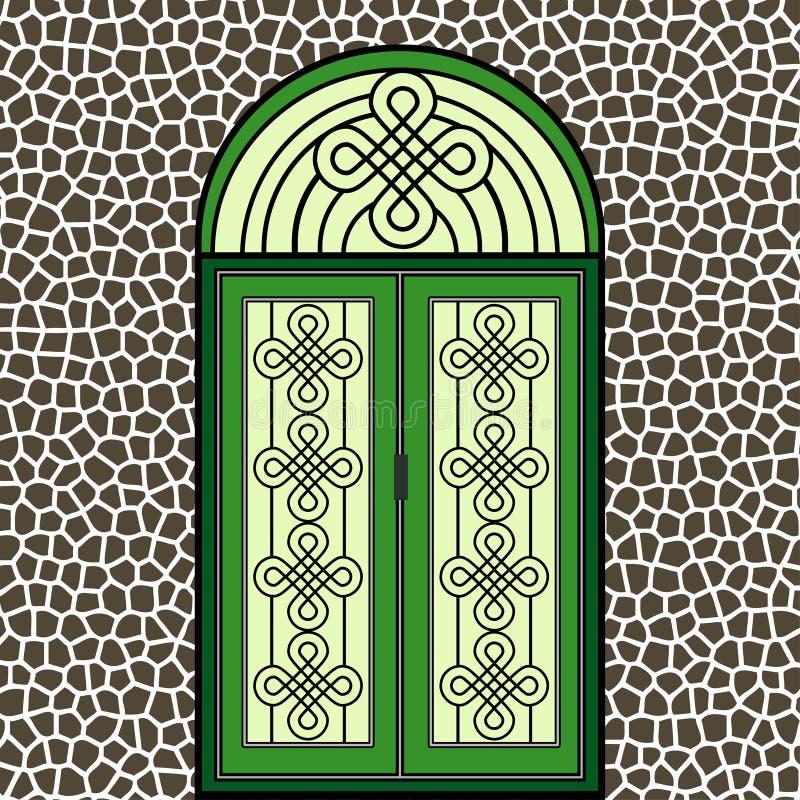 Porta verde del ferro battuto illustrazione vettoriale