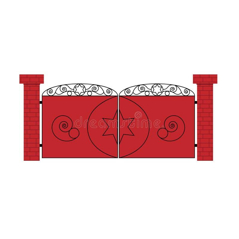 Porta vermelha com teste padrão ilustração royalty free