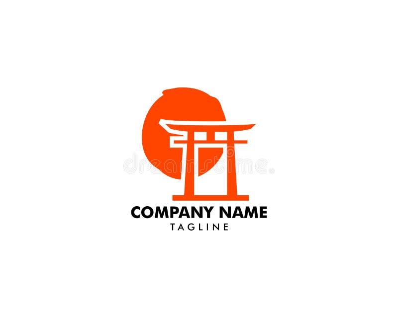 Porta vermelha japonesa de Torii com Sun Logo Vetora Design ilustração do vetor