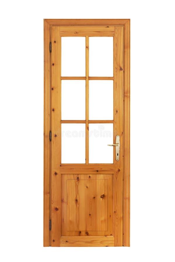 Porta vitrificada de madeira isolada foto de stock