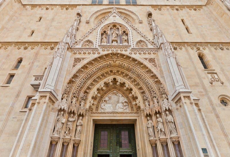 Portaal van de kathedraal van Zagreb (XVIII c ) Kroatië stock fotografie