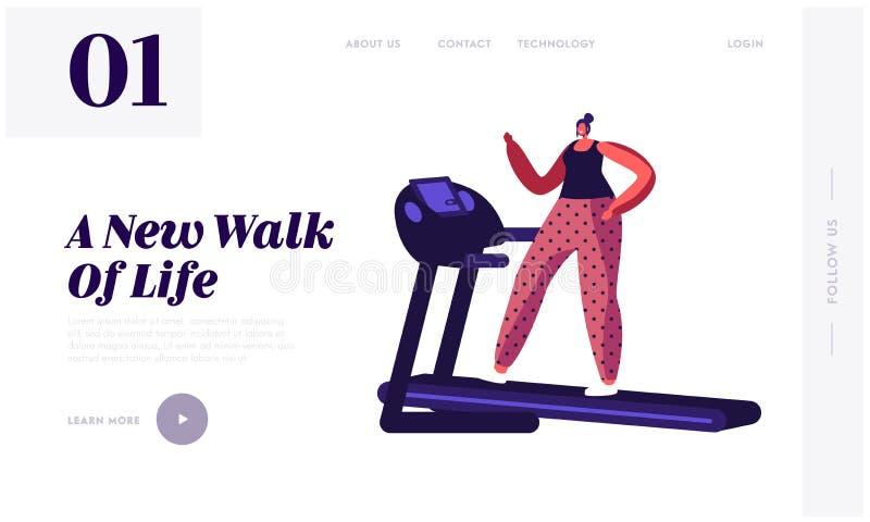 Portaalpagina Active Sport Life Website Vrouw op Treadmill Athletic Girl in Sportzweer en Sneakers vector illustratie