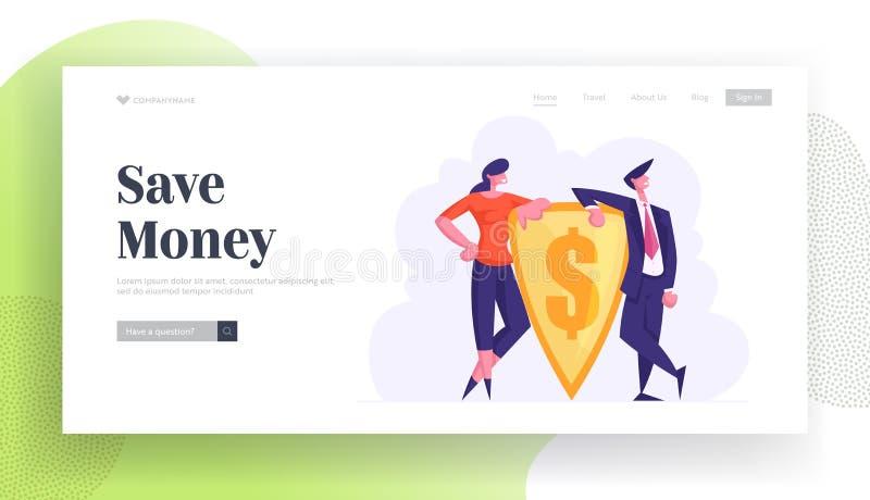Portaalpagina van de website voor monetaire bescherming en financiële defensie Zakenmensen die Gold Shield met gegraveerde Dollar royalty-vrije illustratie