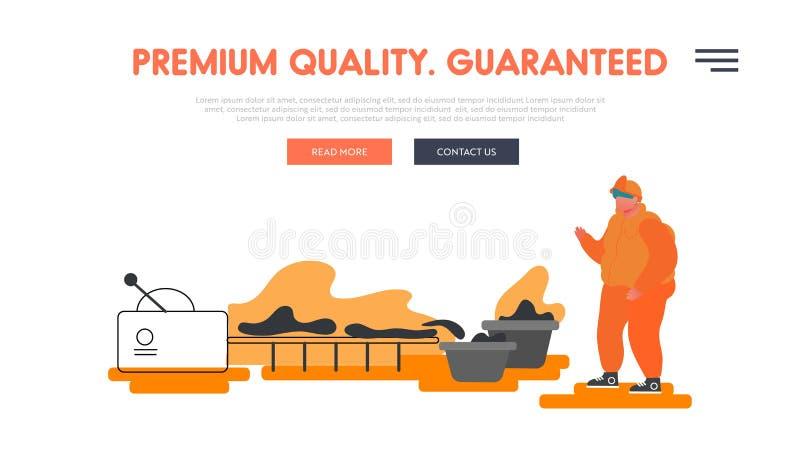 Portaalpagina van het bedrijf voor zware industrie, metaalproductie en legering Arbeidskrachten in de metaalindustrie die op tran royalty-vrije illustratie