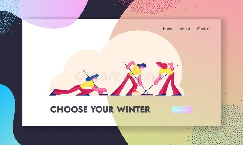 Portaalpagina van website van Women Sports Team Curling Game Meisjes die ijs met speciale penselen overhalen royalty-vrije illustratie
