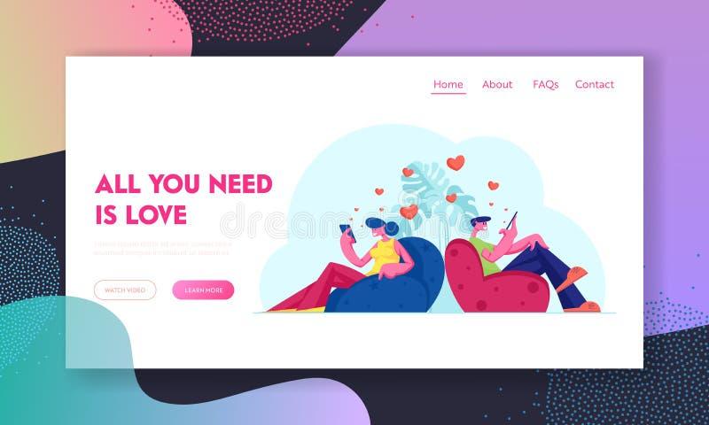 Portaalpagina voor virtuele relaties en liefdeswebsites Young Couple Communication by Mobiles, Man and Woman Use Gadget vector illustratie