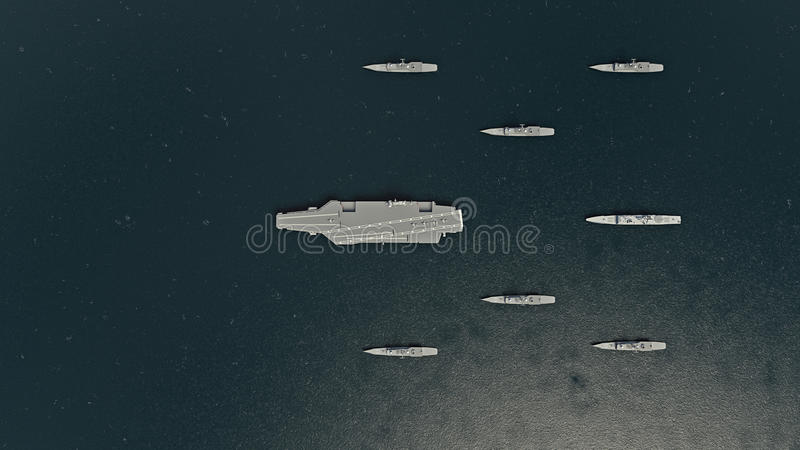 Portaaviones americano con destructores y un crucero en el Océano Pacífico hacia Koreaì del norte stock de ilustración
