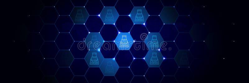 Portabiliteit, gdpr pictogram van Algemeen die gegevensproject in technologisch wordt geplaatst stock illustratie