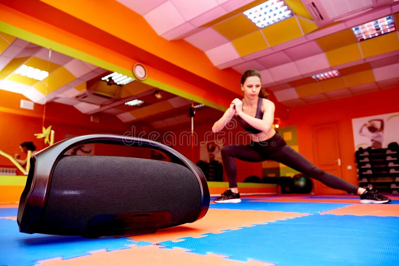Portable acoustics in the aerobics room stock photos