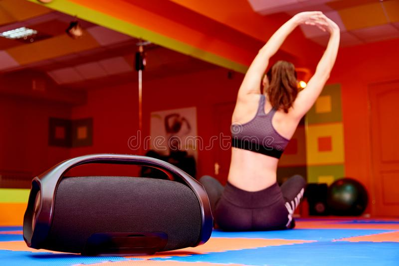 Portable acoustics in the aerobics room stock photography
