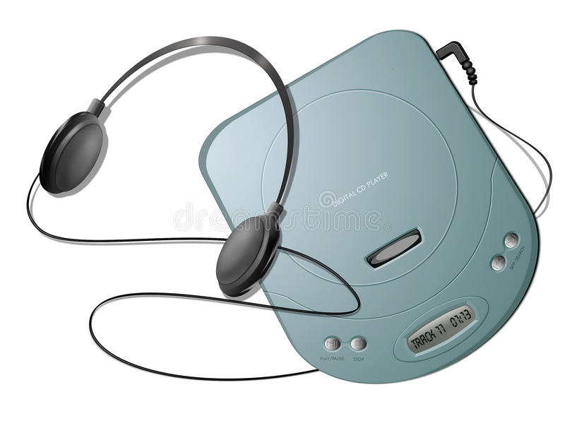 Portable CD player with headphones - Green. Computer-generated illustration: green portable CD player with headphones. Isolated object on white background stock illustration