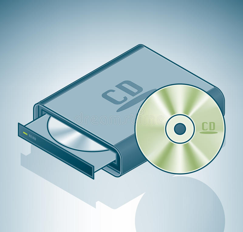 Portable CD-ROM drive stock illustration