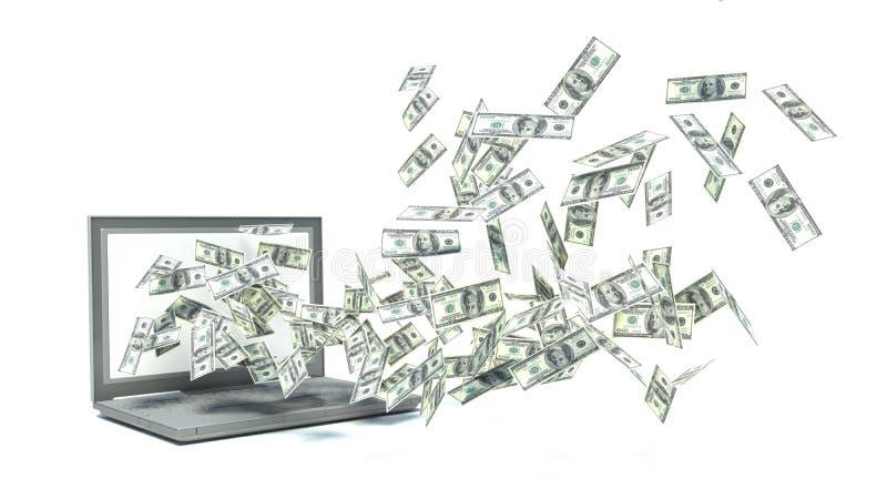 A portable computer make money stock illustration