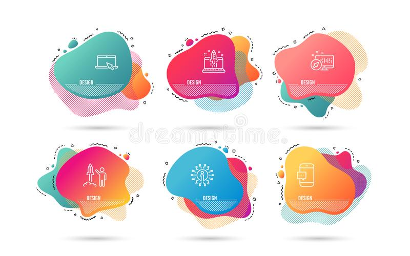 Portable computer, Start business and Smartphone message icons. Launch project sign. Vector. Dynamic liquid shapes. Set of Portable computer, Start business and vector illustration
