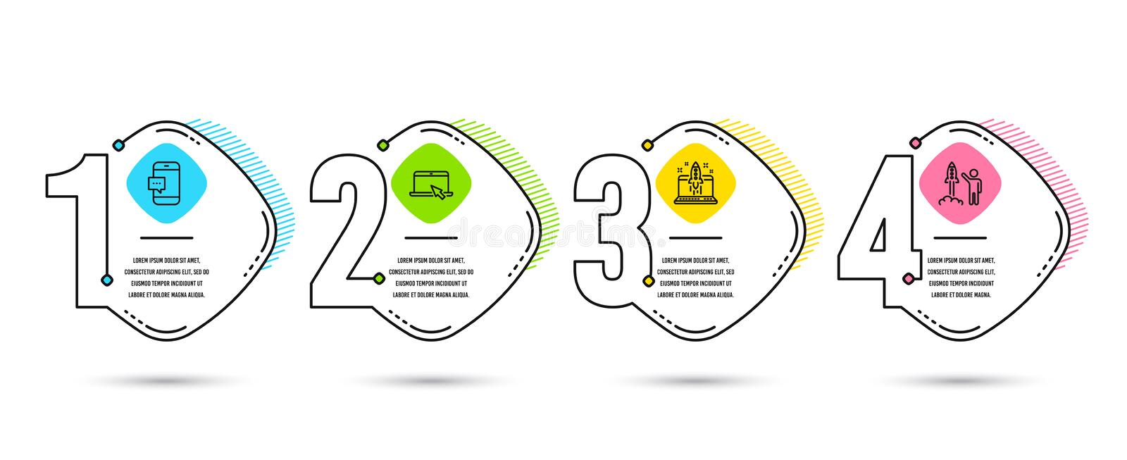 Portable computer, Start business and Smartphone message icons. Launch project sign. Vector. Timeline infographic. Set of Portable computer, Start business and vector illustration