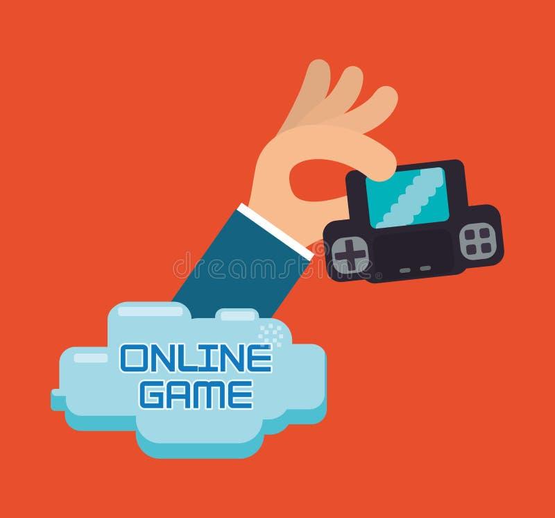 Portable de console de prise de main de jeu sur Internet illustration libre de droits