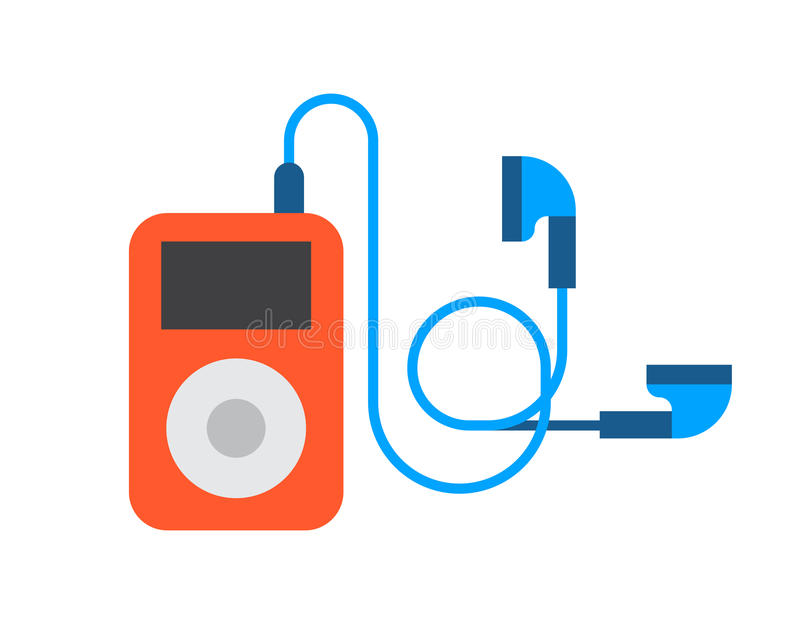 Portable device music player cartoon digital design technology media and communication multimedia stereo button stock illustration