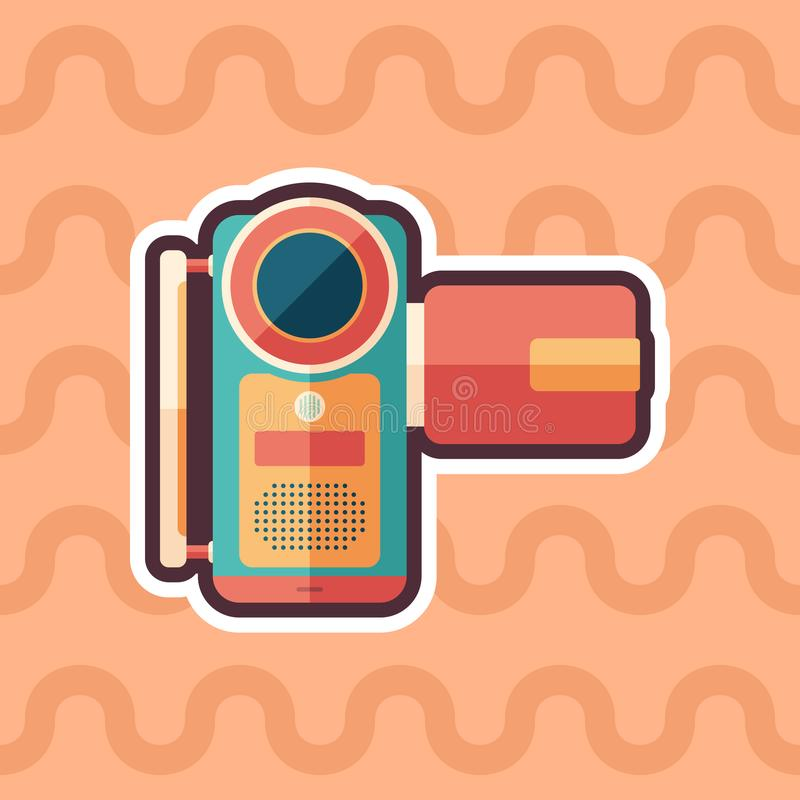 Portable digital video camera sticker flat icon with color background. vector illustration