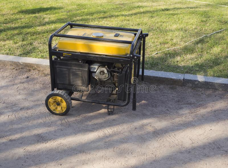 Portable diesel generator on the street stock photography