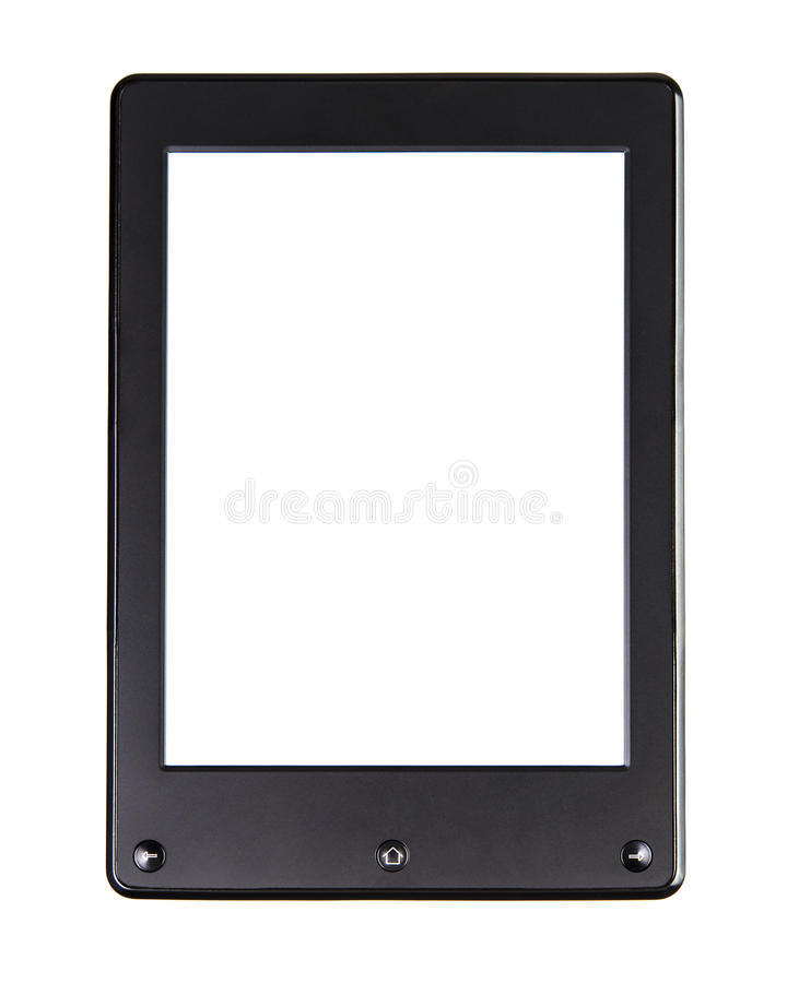 Portable e-book reader for book and screen. Electronic book with home button, right and left button and blank space stock photography
