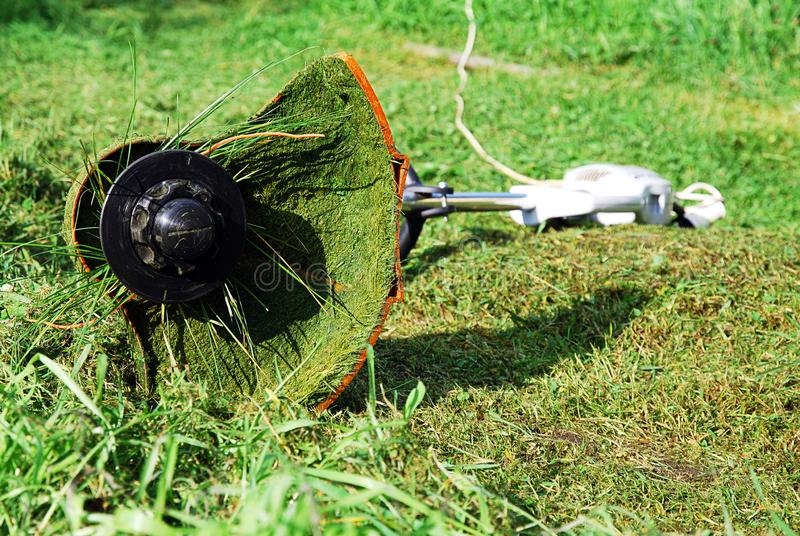 Portable electric grass trimmer lying on green lawn. Grass shreds stuck to it and wrap around the gardening tool stock images