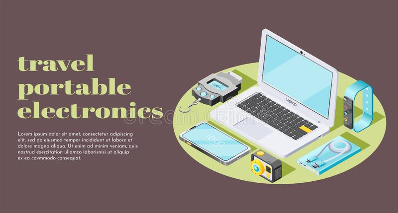 Portable Electronics Isometric Banner vector illustration