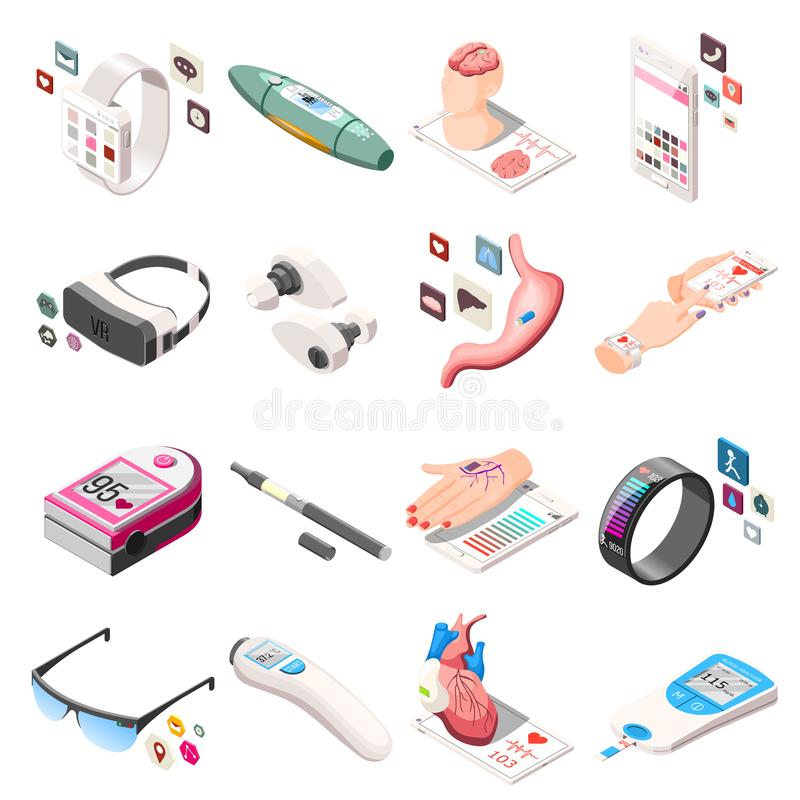 Portable Electronics Isometric Icons vector illustration